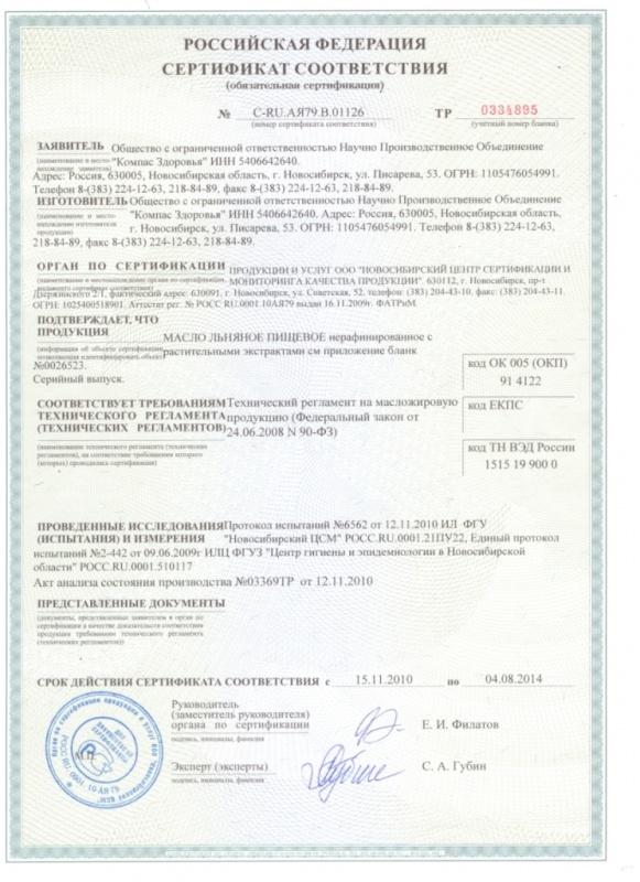 Компас Здоровья сертификат соответствия