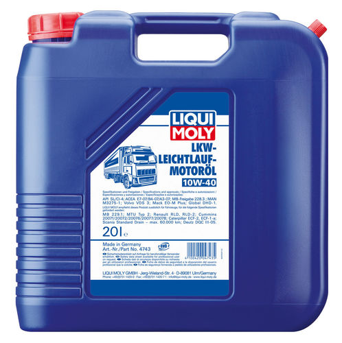 Liqui Moly LKW-Leichtlauf-Motoroil Basic 10W-40 — НС-синтетическое моторное масло (20 л) (art: 4743)